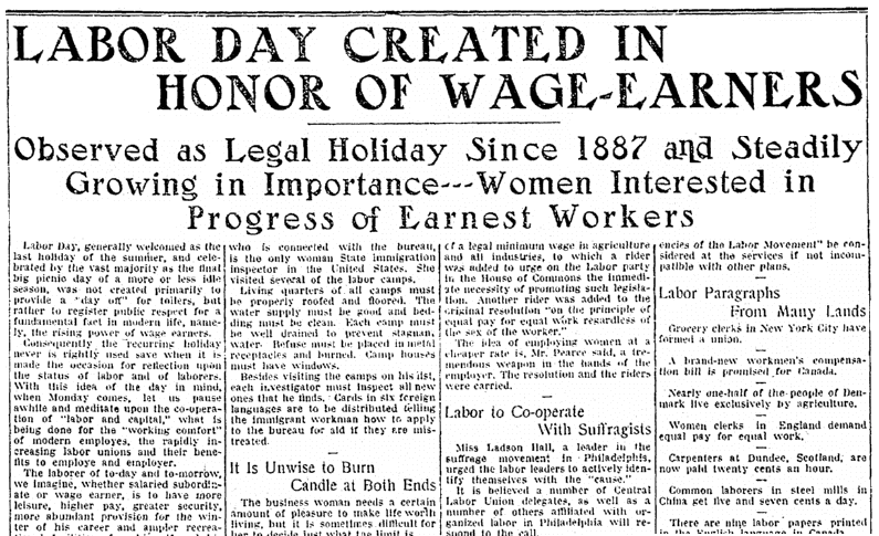 An article about Labor Day, Jersey Journal newspaper article 29 August 1913