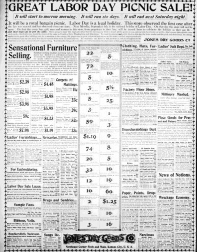 An ad for a Labor Day sale, Kansas City Star newspaper advertisement 27 August 1899