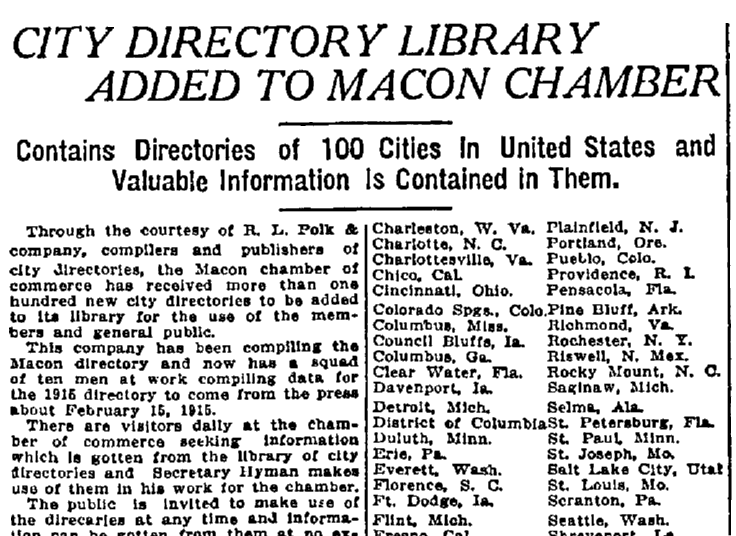 An article about city directories, Macon Telegraph newspaper article 20 December 1914