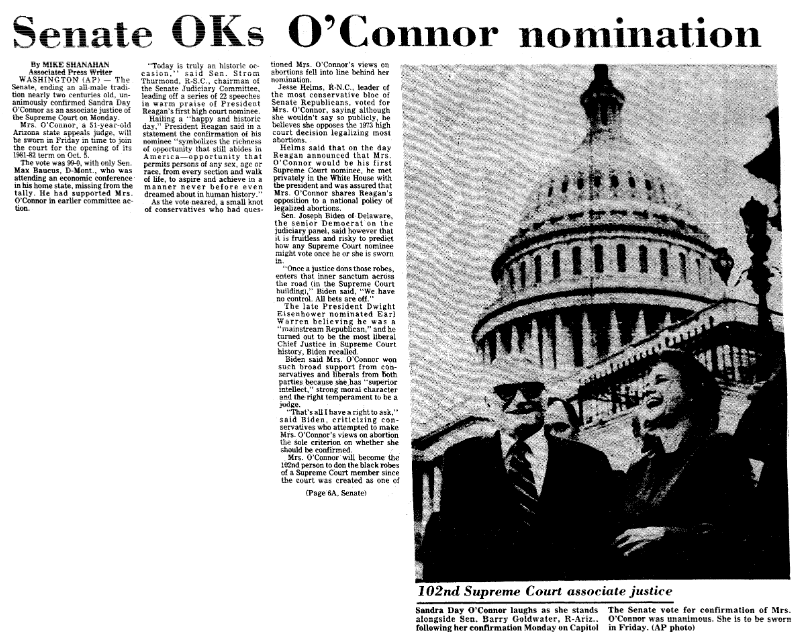 An article about Sandra Day O'Connor being unanimously confirmed by the U.S. Senate to become the first woman justice on the Supreme Court, Mobile Register newspaper article 22 September 1981