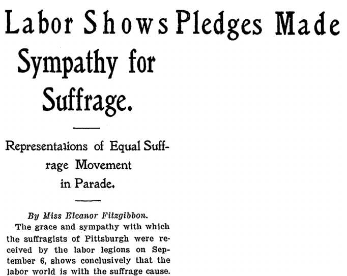 An article about Labor Day and suffragists, National Labor Tribune newspaper article 16 September 1915