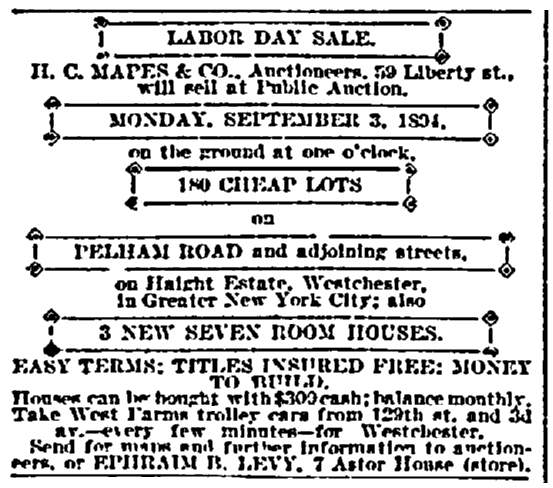 A real estate ad for Labor Day, New York Herald newspaper article 26 August 1894