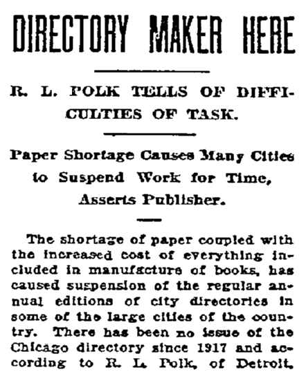An article about city directories, Oregonian newspaper article 20 May 1920