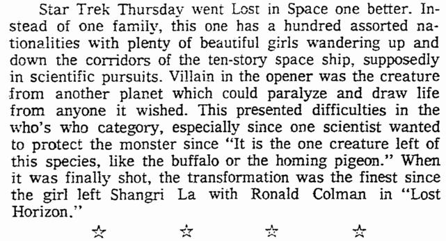 "A review of ""Star Trek,"" Oregonian newspaper article 10 September 1966"