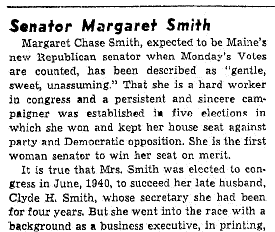 An article about Margaret Chase Smith, Oregonian newspaper article 14 September 1948