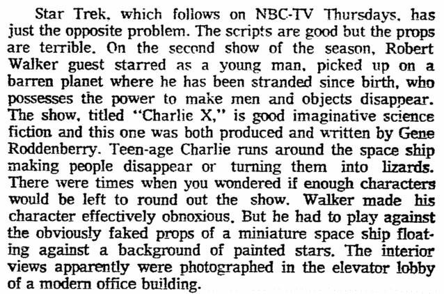 "A review of ""Star Trek,"" Oregonian newspaper article 17 September 1966"