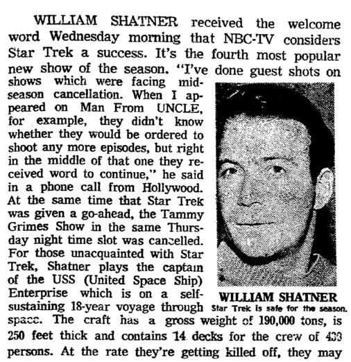 "A review of ""Star Trek,"" Oregonian newspaper article 29 September 1966"