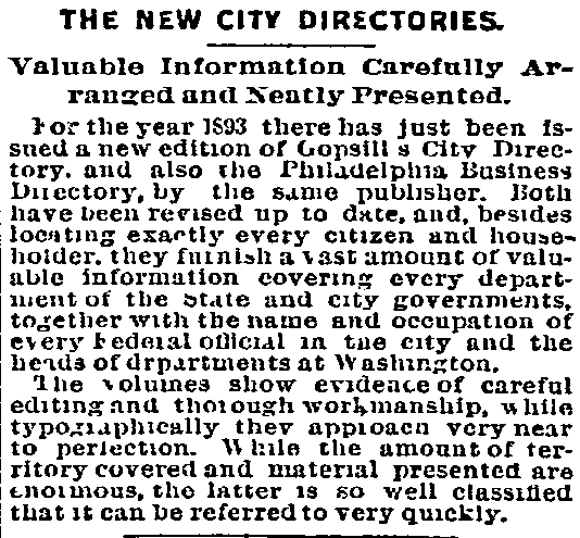 An article about city directories, Philadelphia Inquirer newspaper article 24 March 1893