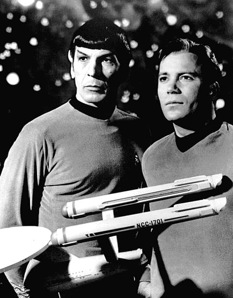 Photo: Leonard Nimoy and William Shatner as Mr. Spock and Captain Kirk from the television program Star Trek