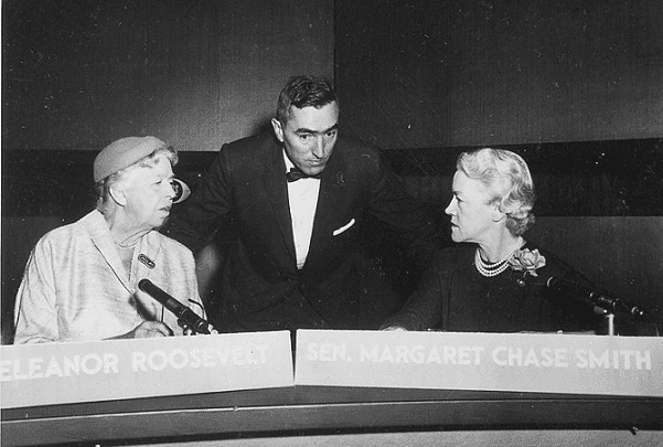 """Photo: Eleanor Roosevelt and Margaret Chase Smith on """"Face the Nation"""" in Washington, D.C., 11 November 1956. Credit: National Archives and Records Administration; Wikimedia Commons."""
