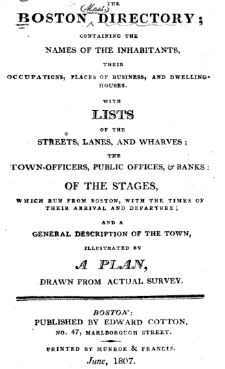 Photo: 1807 Boston City Directory title page