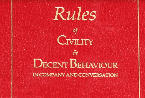 "Photo: cover of the book ""George Washington's Rules of Civility & Decent Behaviour in Company and Conversation."" Credit: Mary Harrell-Sesniak."