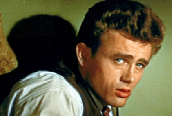 "Photo: cropped screenshot of James Dean in the trailer for the film ""East of Eden,"" 1955. Credit: Wikimedia Commons."