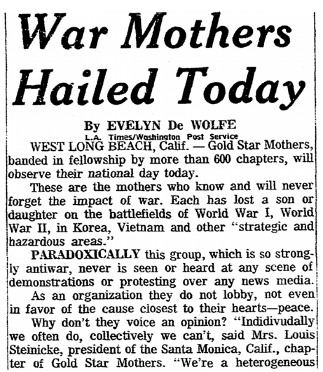 An article about Gold Star Mother's Day, Plain Dealer newspaper article 29 September 1968
