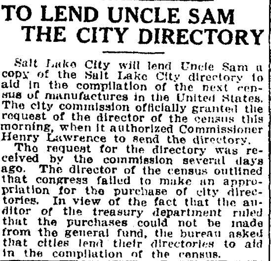An article about city directories, Salt Lake Telegram newspaper article 6 October 1914