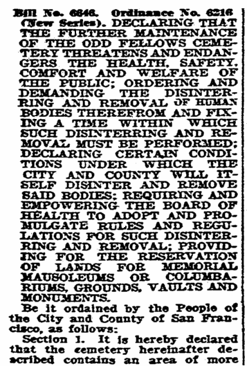 An article about a San Francisco ordinance to move a cemetery, San Francisco Chronicle newspaper article 1 May 1924