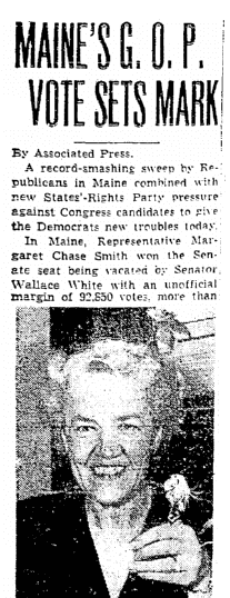 An article about Margaret Chase Smith, Seattle Daily Times newspaper article 14 September 1948