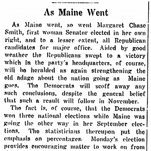 An article about Margaret Chase Smith, Springfield Union newspaper article 15 September 1948