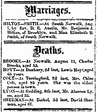 Marriage and death notices, Stamford Advocate newspaper article 17 August 1860