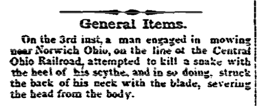 An article about an accident with a scythe, Stamford Advocate newspaper article 17 August 1860