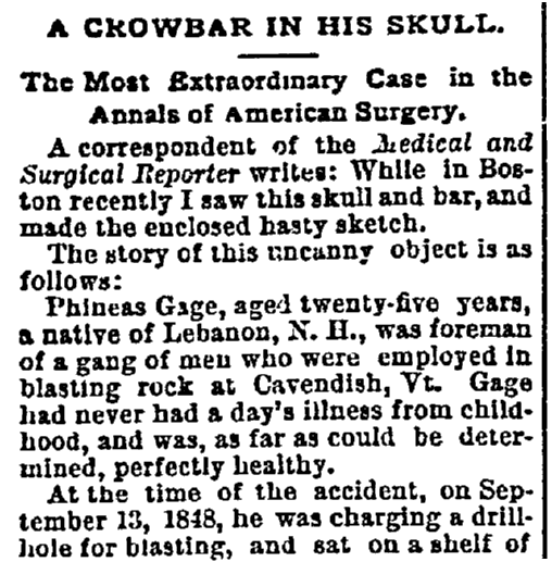 An article about Phineas Gage's accident, State newspaper article 18 January 1893