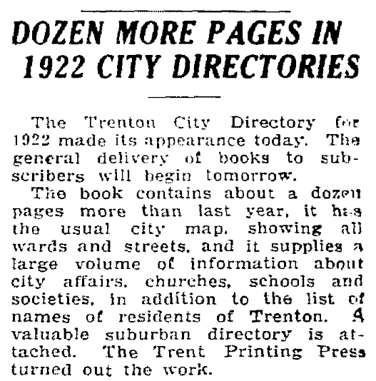 An article about city directories, Trenton Evening Times newspaper article 26 August 1922