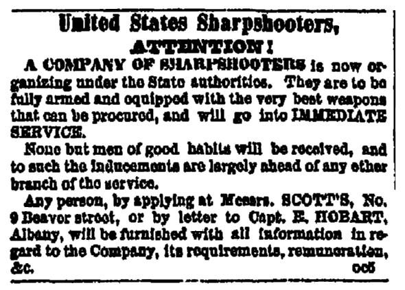 A newspaper recruitment ad for the U.S. Civil War, Albany Evening Journal newspaper advertisement 30 December 1861