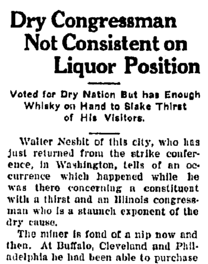 An article about Prohibition, Belleville News Democrat newspaper article 28 October 191