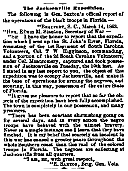 An article about Civil War action around Jacksonville, Florida, Boston Daily Advertiser newspaper article 31 March 1863