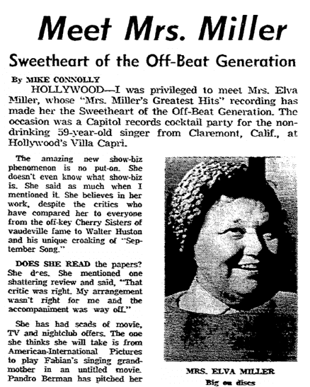 An article about Elva Miller, Boston Herald newspaper article 29 May 1966