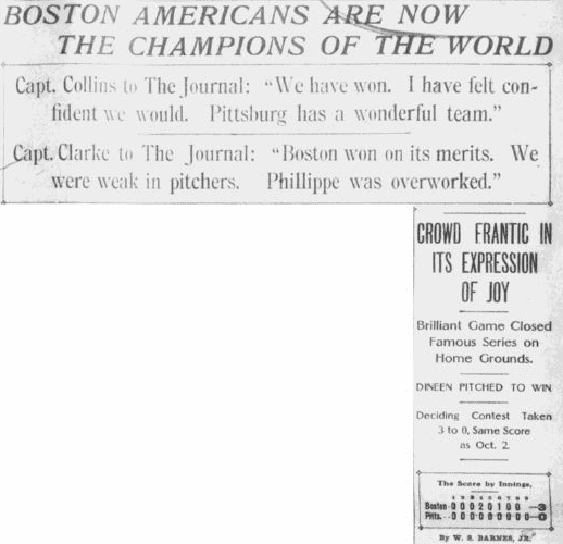 An article about the 1903 World Series, baseball's first, Boston Journal newspaper article 14 October 1903