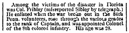 An article about the death of Col. Fribley in the Civil War, Boston Traveler newspaper article 2 March 1864