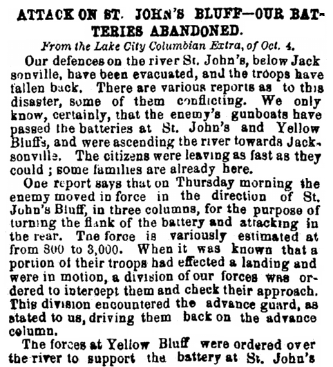 An article about Civil War action around Jacksonville, Florida, Daily Constitutionalist newspaper article 12 October 1862
