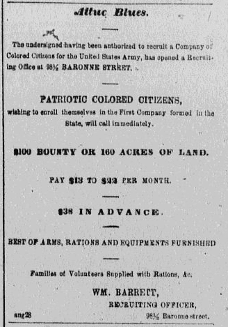 A newspaper recruitment ad for the U.S. Civil War, Daily Delta newspaper article 18 October 1862