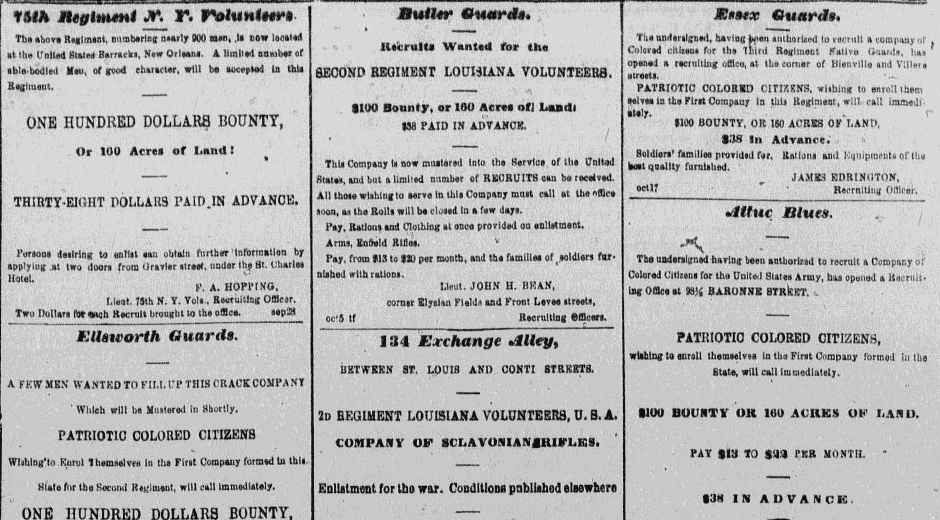 Newspaper recruitment ads for the U.S. Civil War, Daily Delta newspaper advertisements 18 October 1862