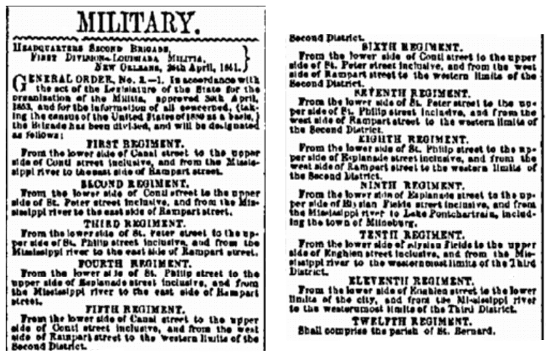 A Civil War draft announcement, Daily True Delta newspaper article 1 May 1861