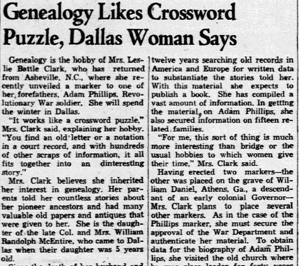 An article about genealogy and crossword puzzles, Dallas Morning News newspaper article 23 October 1938