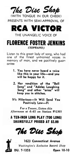 An ad for the records of Florence Foster Jenkins, Evening Star newspaper advertisement 9 April 1954