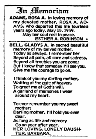 Memorial notices, Evening Star newspaper article 15 May 1973
