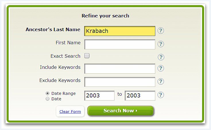 """A screenshot of GenealogyBank's search page showing a search for """"Krabach"""""""