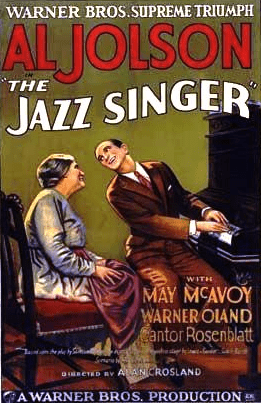 "Illustration: poster for the movie ""The Jazz Singer"" featuring stars Eugenie Besserer and Al Jolson, 1927"