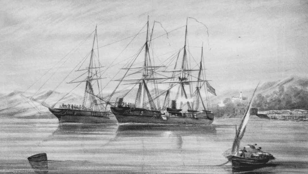 """Illustration: """"Cutting out the Florida from Bahia, Brazil by the U.S.S. Wachusett."""" 19th century phototype print by F. Gutekunst, Philadelphia. It depicts the capture of CSS Florida by USS Wachusett at Bahia, Brazil, on 7 October 1864"""