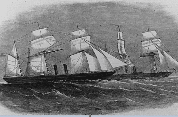 Illustration: the captured CSS Florida and the USS Wachusett, from Harper's Weekly, 1864. Credit: U.S. Library of Congress, Prints and Photographs Division.