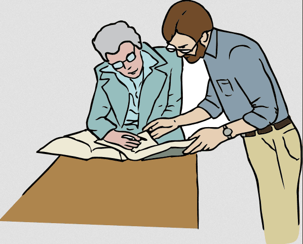 Illustration: a teacher helping a student
