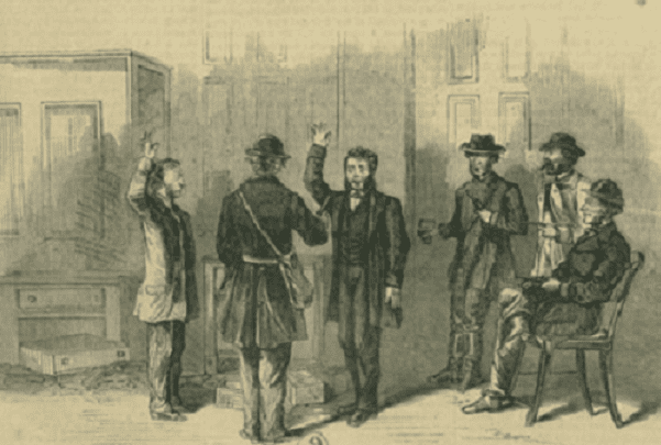"Illustration: the St. Albans Raid in St. Albans, Vermont, during the Civil War, on 19 October 1864. At the bank, the raiders forced those present to take an oath of loyalty to ""the Constitution of the Confederate States of America."" Credit: Frank Leslie's Illustrated Newspaper; Wikimedia Commons."