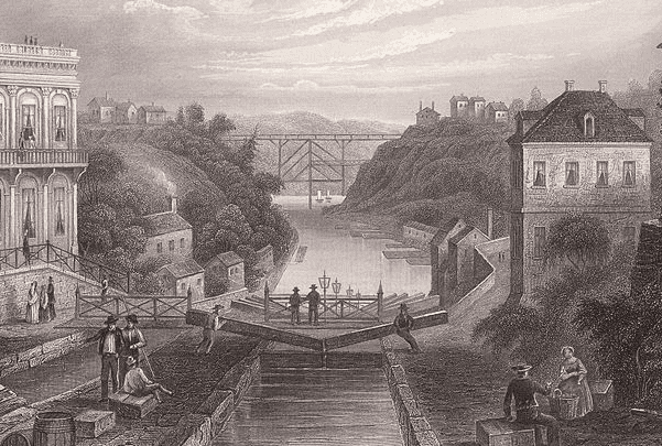 Illustration: lithograph of the Erie Canal at Lockport, New York, c.1855. Published for Herrman J. Meyer, 164 William Street, New York City. Credit: Wikimedia Commons.