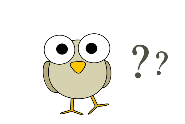 Illustration: a cartoon drawing of a bird questioning