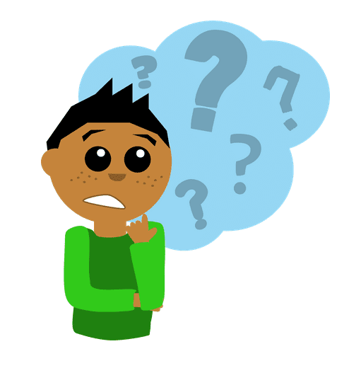 Illustration: a boy questioning