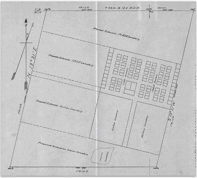 A map of Cemetery at Fort Bidwell, California, August 10, 1912