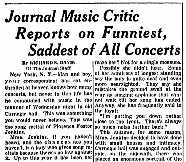 An article about Florence Foster Jenkins, Milwaukee Journal-Sentinel newspaper article 27 October 1944